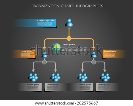 Organization chart infographics design - stock vector