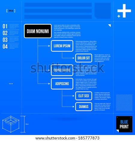 Organization chart template in blueprint style. EPS10 - stock vector