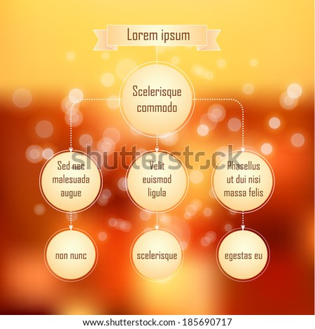 Organization chart template with circle elements on abstract background of multicolored spots of light. - stock vector