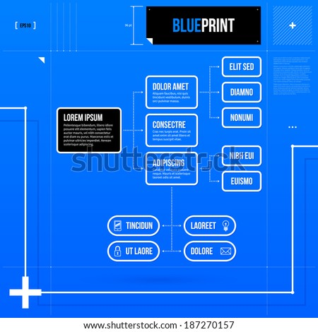 Organization chart template with rectangle elements in blueprint style. EPS10 - stock vector