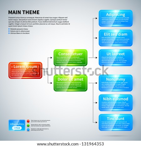 Organization chart with colorful glossy elements. Useful for presentations. - stock vector