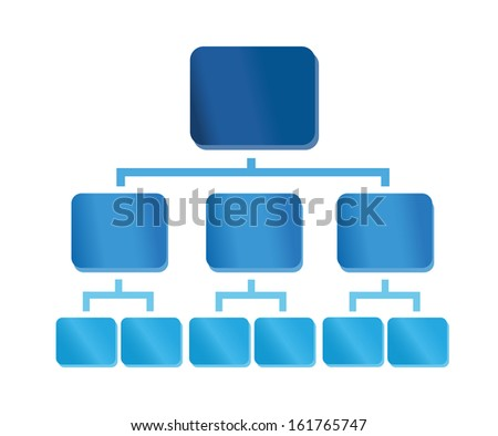 Organization chart with colorful glossy elements. Useful for presentations - stock vector