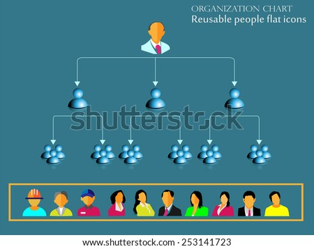 Organization hierarchy chart infographic design and reusable people flat icon collection - stock vector