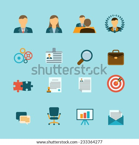 Organization human resources efficiency management and personnel selection recruitment strategy flat icons collection abstract isolated vector illustration - stock vector