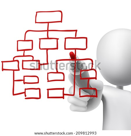 organizational chart drawn by a man over white background - stock vector