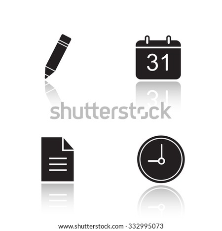 Organizer drop shadow icons set. Time management app interface. Day planning application. Pencil and calendar glossy symbols. Clock and new document black cast shadow silhouettes illustrations. Vector - stock vector