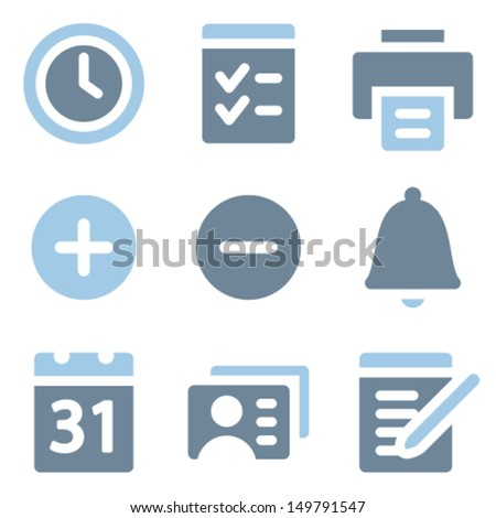 Organizer icons, blue solid series - stock vector