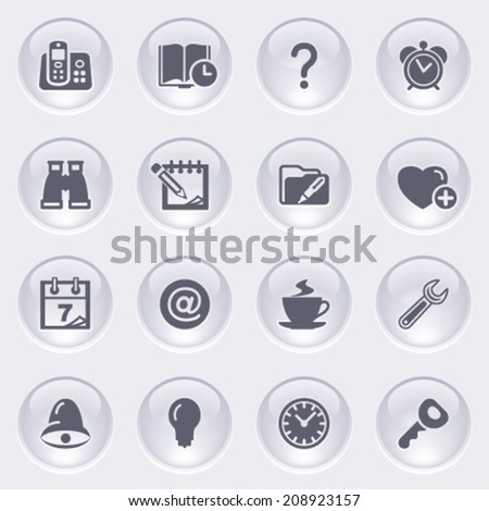 Organizer icons on glossy buttons. - stock vector
