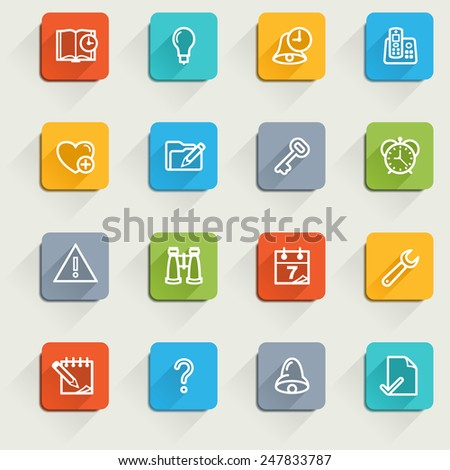 Organizer icons with color buttons. - stock vector
