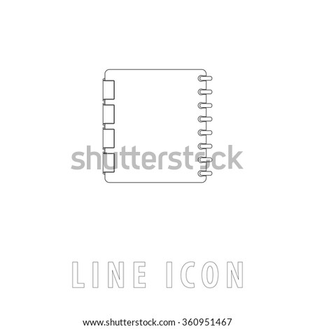 Organizer Outline simple vector icon on white background. Line pictogram with text  - stock vector