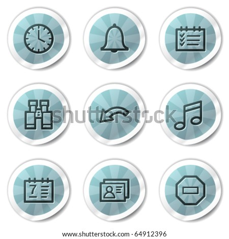 Organizer web icons, blue shine stickers series - stock vector