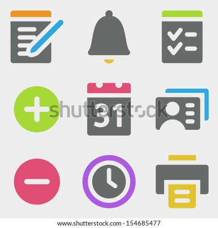 Organizer web icons color icons - stock vector