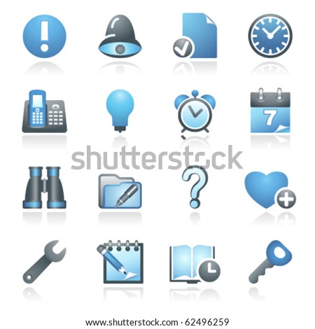 Organizer web icons. Gray and blue series. - stock vector