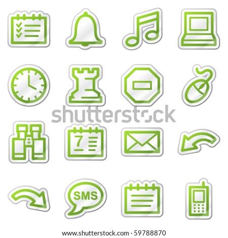 Organizer web icons, green sticker series - stock vector