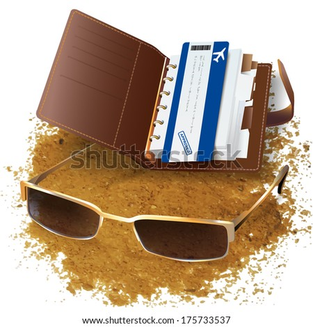 Organizer with a flight ticket and sunglasses, isolated on white background - stock vector