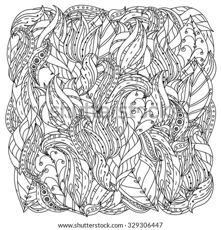 orient floral black and white  ornament with abstract flowers could be use  for coloring book  in zentangle style.  - stock vector
