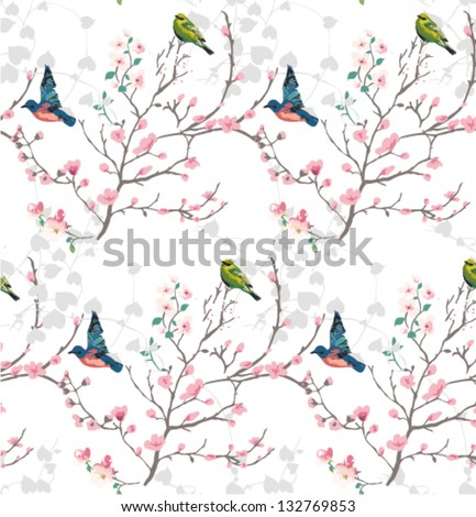 Orient style flower,seamless spring branch with bird vector pattern - stock vector