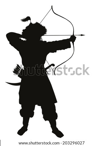 Oriental archer with bow and arrow detailed vector silhouette. EPS 8 - stock vector