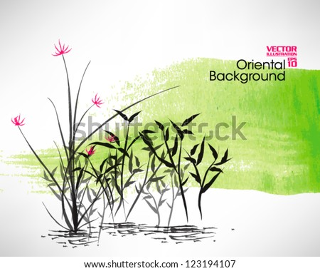 Oriental Chinese Ink Painting Vector Design - stock vector