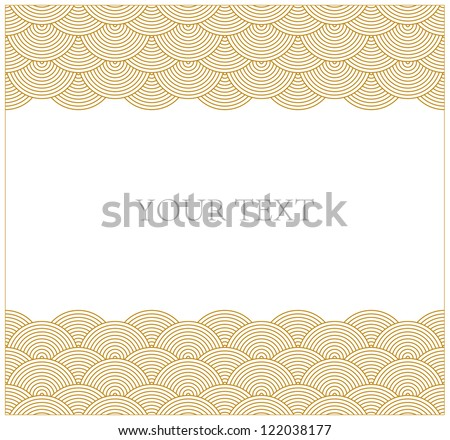 Oriental curve wave pattern frame - stock vector