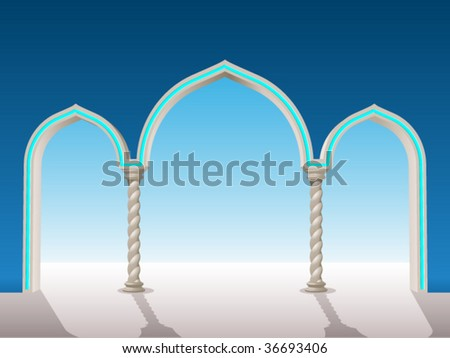 oriental gypsum archway to put on a background to frame - stock vector