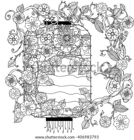 Oriental lantern decorated by floral patterns for adult  coloring book.  Black and white. Uncolored Vector illustration. The best for your design, textiles, posters, adult coloring book - stock vector