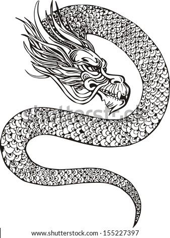 Oriental legless dragon. Black and white vector illustration. - stock vector