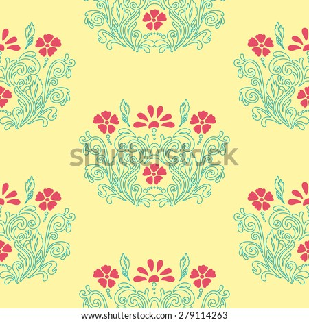 Oriental ornament with native floral elements. Seamless pattern of flower decoration on a yellow background. Fully editable vector. Ideally suited for textile or ceramic industry. - stock vector