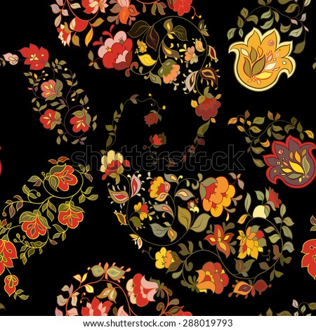 Oriental  paisley seamless pattern with black background.  Floral motifs. - stock vector