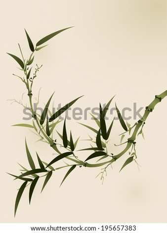 oriental style painting, bamboo branches - stock vector