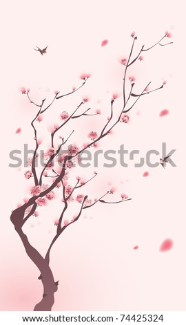 oriental style painting, cherry blossom in spring - stock vector