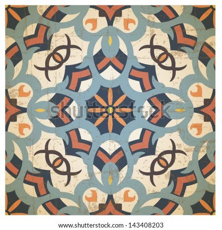 Oriental traditional ornament, mediterranean seamless pattern, symmetric background, tile design, vector illustration - stock vector