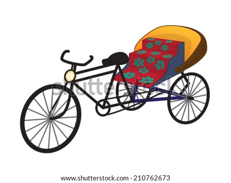 Oriental tricycle rickshaw cab, vector illustration - stock vector