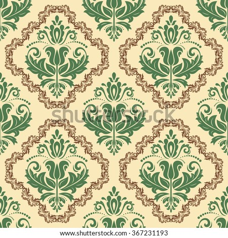 Oriental vector classic pattern with brown and green elements. Seamless abstract background - stock vector