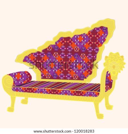 Oriental vintage sofa - stock vector