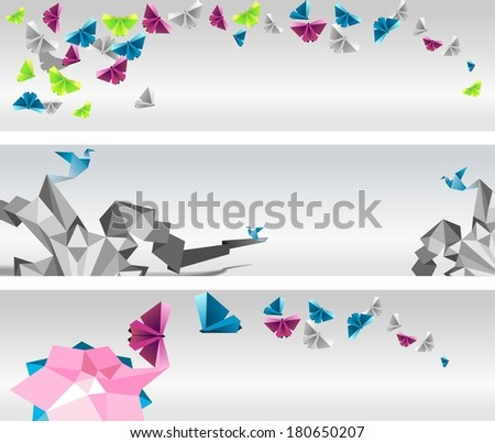 Origami  abstract banners. Paper butterflies and birds. - stock vector