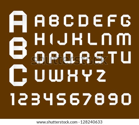 Origami alphabet on brown background - stock vector