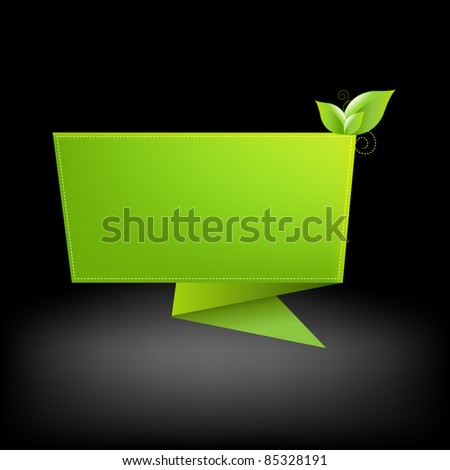 Origami And Leaf, Vector Illustration - stock vector