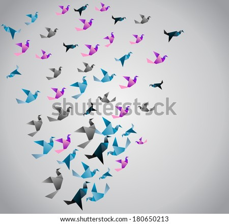 Origami  background. Paper is transformed to birds. - stock vector