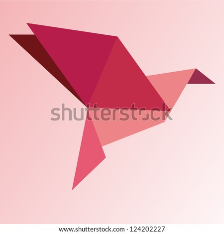 Origami bird - stock vector