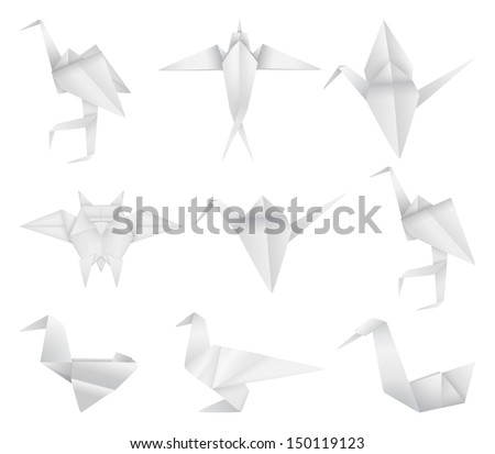 Origami birds set - stock vector