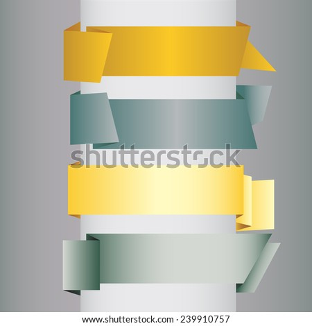 origami blank banners - stock vector