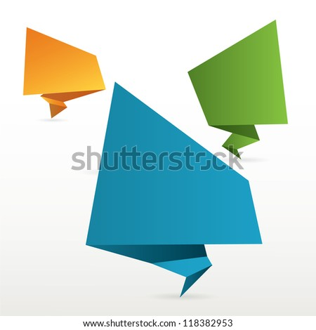 origami bubble - stock vector