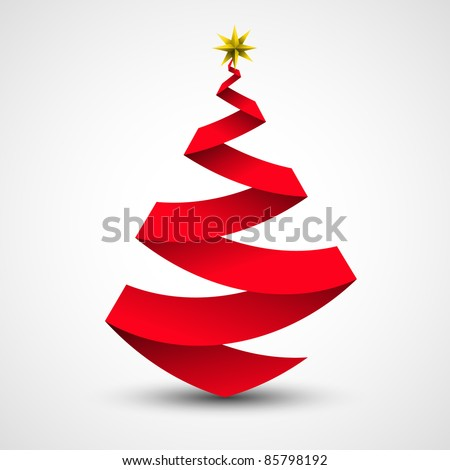 Origami Christmas tree made from paper | ribbon. Vector illustration. - stock vector