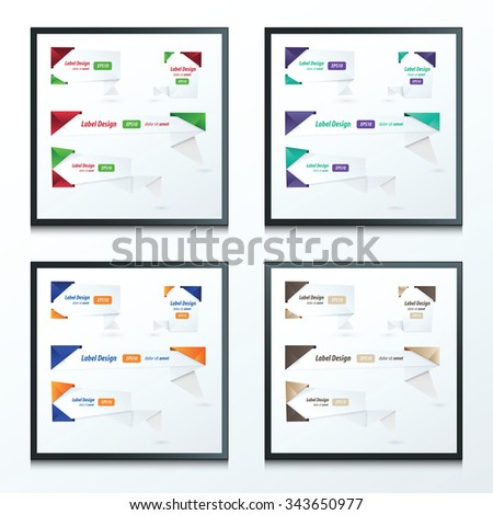 Origami 2 color style label set  - stock vector