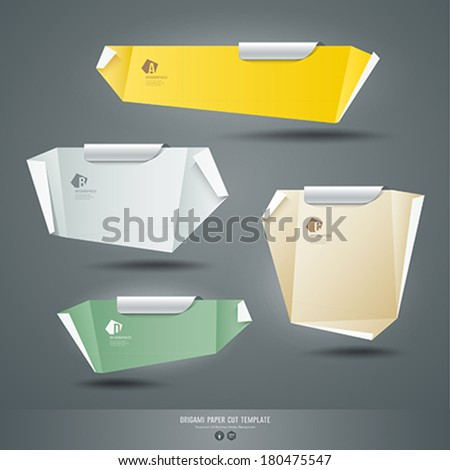 Origami colorful paper cuts background, vector illustration  - stock vector