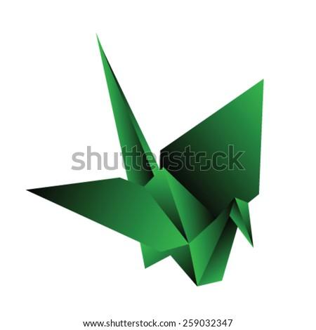 origami crane vector illustration - stock vector