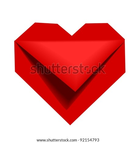 Origami heart - stock vector
