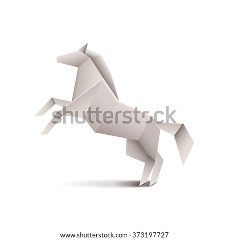 Origami horse isolated on white photo-realistic vector illustration - stock vector