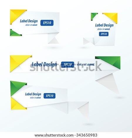 Origami label design, brazil Style - stock vector